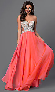 Long Strapless Open Back La Femme Prom Dress