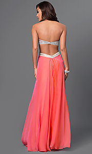 Image of long strapless open-back La Femme prom dress. Style: LF-22179 Back Image