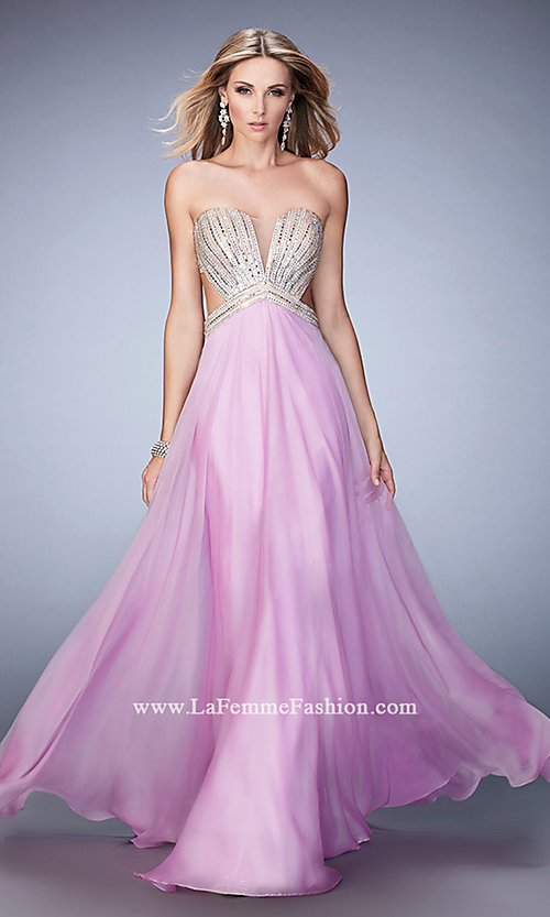 Image of long strapless open-back La Femme prom dress. Style: LF-22179 Detail Image 2