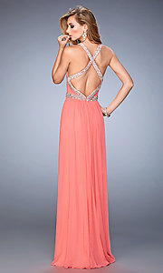 Image of long open back high neck ruched bust sleeveless dress Style: LF-22347 Back Image