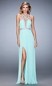 Image of long open back high neck ruched bust sleeveless dress Style: LF-22347 Detail Image 1