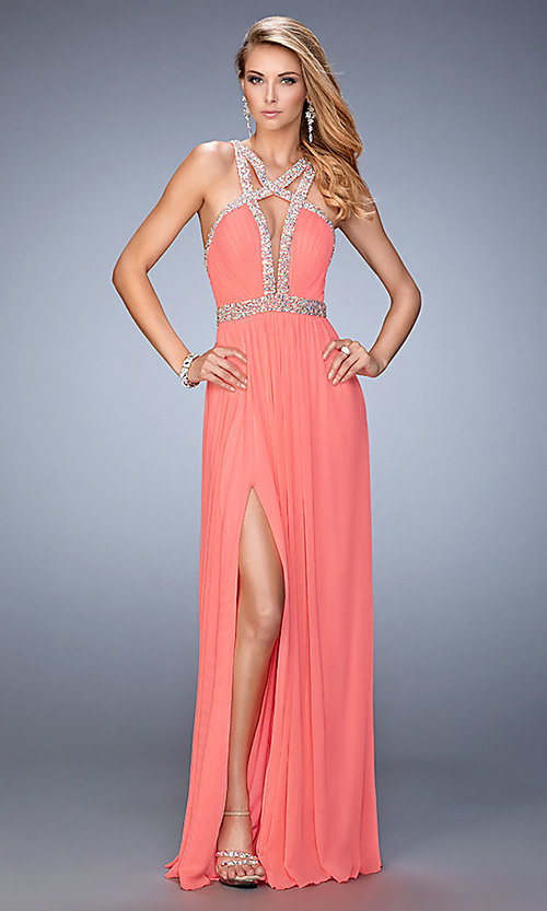 Image of long open back high neck ruched bust sleeveless dress Style: LF-22347 Front Image
