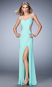 Image of La Femme long sweetheart dress with side slit. Style: LF-22190 Detail Image 3