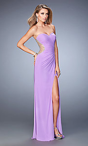 Image of La Femme long sweetheart dress with side slit. Style: LF-22190 Front Image