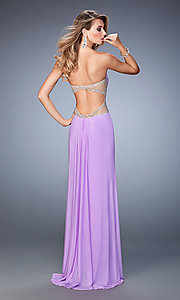 Image of La Femme long sweetheart dress with side slit. Style: LF-22190 Back Image