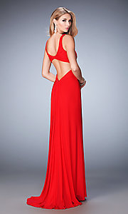 Image of La Femme long open-back sweetheart formal dress. Style: LF-22200 Back Image