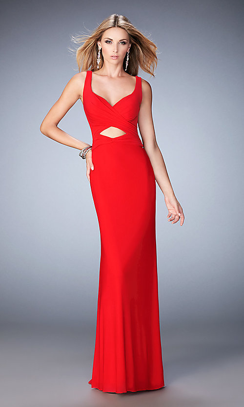 Image of La Femme long open-back sweetheart formal dress. Style: LF-22200 Front Image