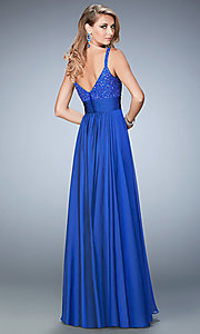 Image of long sleeveless sweetheart La Femme ball gown. Style: LF-22433 Back Image