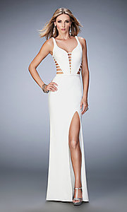 Image of La Femme v-neck dress with cut-outs. Style: LF-22245 Front Image