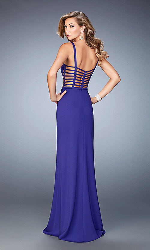 Image of La Femme v-neck dress with cut-outs. Style: LF-22245 Back Image