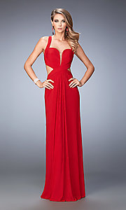 Image of La Femme long open-back formal dance dress. Style: LF-22224 Front Image
