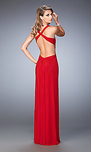 Image of La Femme long open-back formal dance dress. Style: LF-22224 Back Image