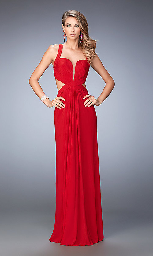 Image of long sleeveless open back sweetheart dress Style: LF-22224 Front Image