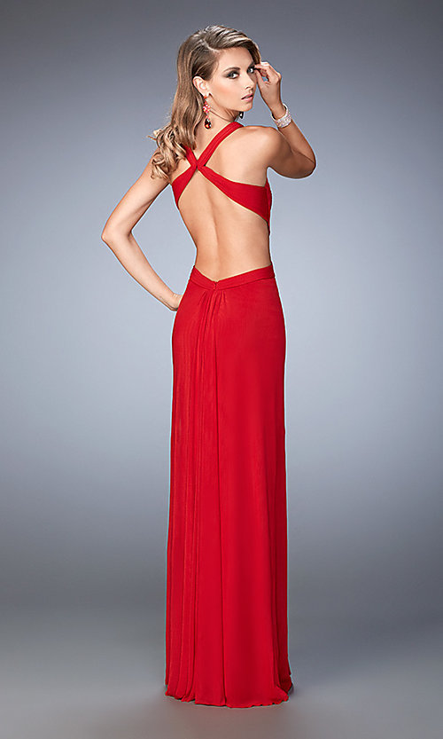 Image of long sleeveless open back sweetheart dress Style: LF-22224 Back Image