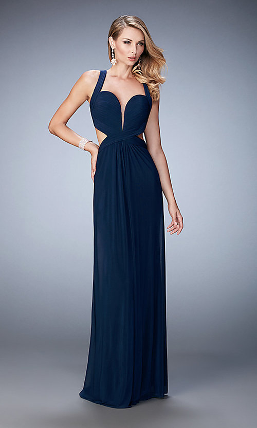 Image of long sleeveless open back sweetheart dress Style: LF-22224 Detail Image 1
