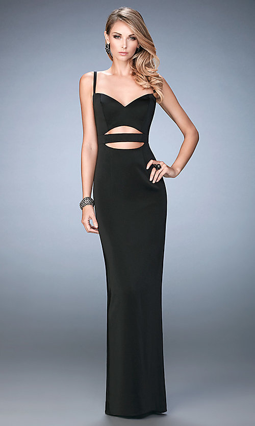 Image of long La Femme cut-out sweetheart dress. Style: LF-22689 Front Image