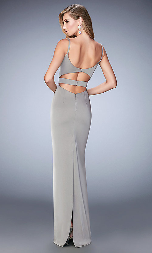 Image of long La Femme cut-out sweetheart dress. Style: LF-22689 Back Image