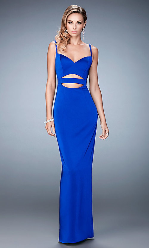 Image of long La Femme cut-out sweetheart dress. Style: LF-22689 Detail Image 2