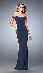 Long Off the Shoulder Open Back La Femme Prom Dress