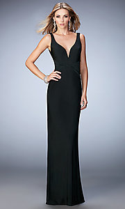 Image of floor-length sleeveless v-neck open-back dress Style: LF-22060 Front Image