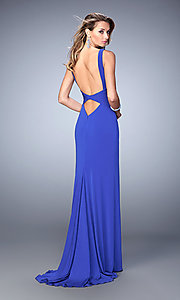Image of floor-length sleeveless v-neck open-back dress Style: LF-22060 Back Image