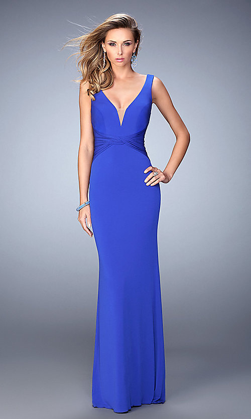 Image of floor-length sleeveless v-neck open-back dress Style: LF-22060 Detail Image 1