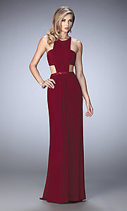 Long La Femme Mock Two Piece Prom Dress