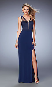 Long V-neck La Femme Prom Dress with a Sheer Back