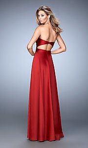 Image of long strapless La Femme formal dress. Style: LF-22052 Back Image