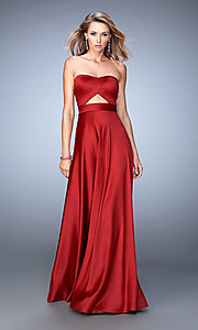 Image of long strapless La Femme formal dress. Style: LF-22052 Detail Image 1