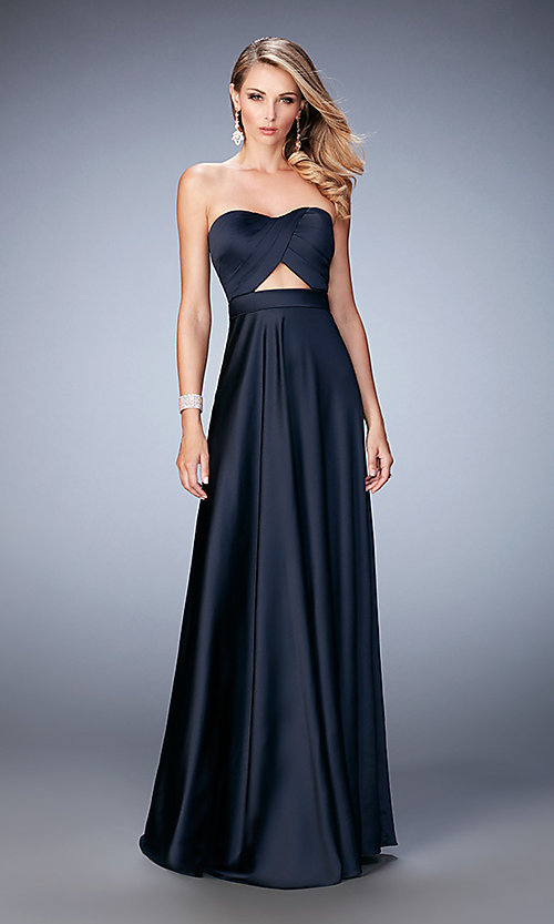 Image of long strapless La Femme formal dress. Style: LF-22052 Front Image
