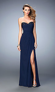 La Femme Long Strapless Prom Dress