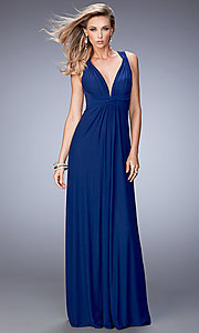 Image of long open-back v-neck formal dress by La Femme. Style: LF-21976 Detail Image 2