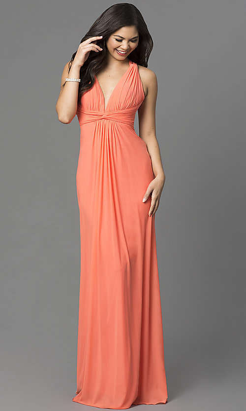 Image of long open-back v-neck formal dress by La Femme. Style: LF-21976 Detail Image 1