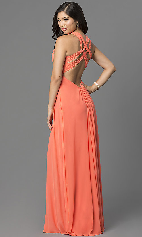 Image of long open-back v-neck formal dress by La Femme. Style: LF-21976 Back Image