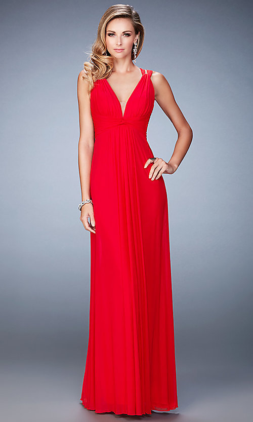 Image of long open-back v-neck formal dress by La Femme. Style: LF-21976 Front Image