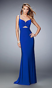 Image of long cut out La Femme sweetheart prom dress. Style: LF-21922 Front Image