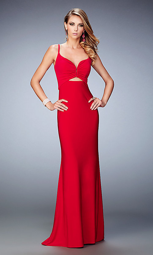 Image of long cut out La Femme sweetheart prom dress. Style: LF-21922 Detail Image 1