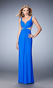 Image of La Femme beaded-illusion v-neck prom dress. Style: LF-21886 Front Image