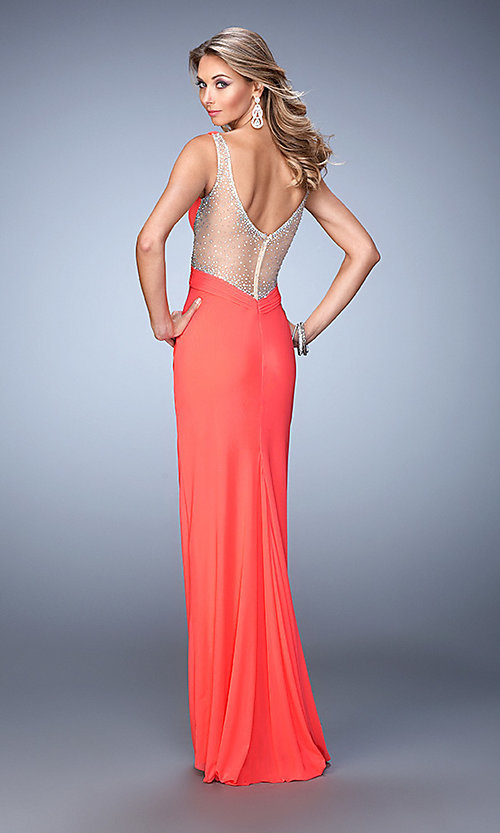 Image of La Femme beaded-illusion v-neck prom dress. Style: LF-21886 Back Image