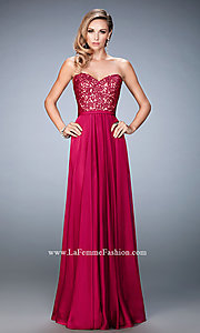 Image of long strapless embroidered top dress  Style: LF-21820 Front Image