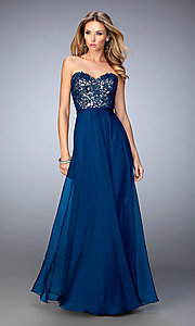 Long Strapless La Femme Dress with Embroidered Top