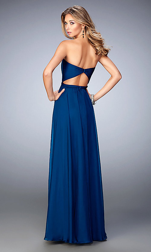 Image of long strapless embroidered top dress  Style: LF-21820 Back Image