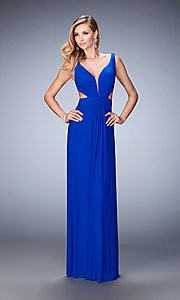 V-Neck La Femme Formal Dress with Cut-Outs