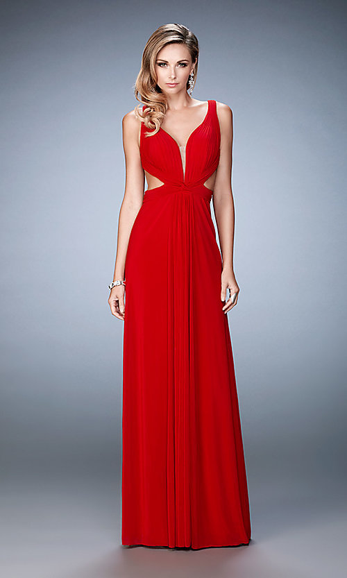 Image of v-neck La Femme formal dress with cut-outs. Style: LF-21889 Detail Image 1