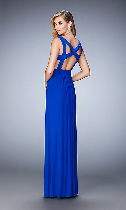 Image of v-neck La Femme formal dress with cut-outs. Style: LF-21889 Back Image