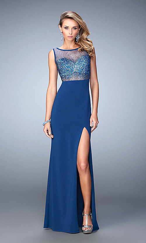 Image of sleeveless open back beaded illusion bodice floor length dress Style: LF-21583 Front Image