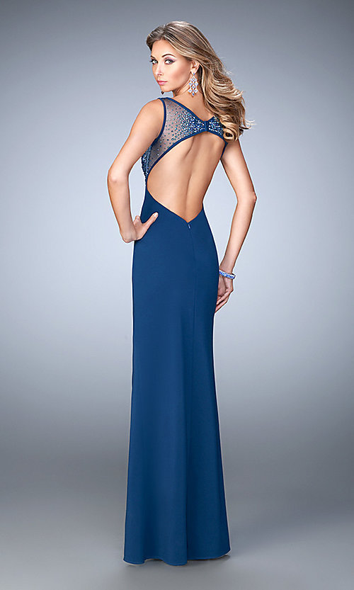 Image of sleeveless open back beaded illusion bodice floor length dress Style: LF-21583 Back Image