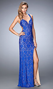 Lace Floor Length Open Back La Femme Prom Dress