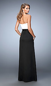 Image of strapless two toned floor length dress Style: LF-21555 Back Image